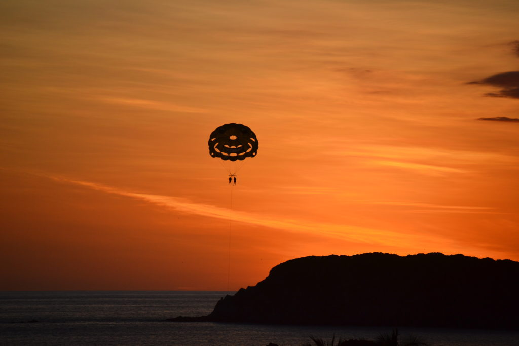 Sunset double parasail photo above Manuel Antonio Beach