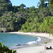 Lagoon and sandy beach in Manuel Antonio National Park, Costa Rica