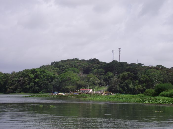 View of a mountaintop island on Panama river cruise