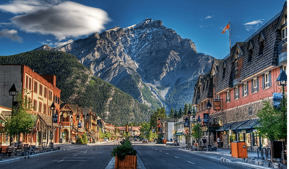 View of the Rocky Mountains from downtown Banff Alberta.